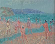 § DESMOND CARRICK R.H.A. (IRISH 1928-2012) HEAT SHIMMER ON BURRIANA BEACH, NERJA 40cm x 50cm (15.5in x 19.5in)