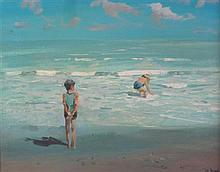 § JAMES LE JEUNE R.H.A. (CANADIAN/IRISH 1910-1983) BATHERS 35cm x 45cm (13.5in x 17.5in)
