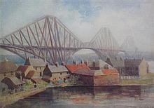 § EMILY PAYTON REID A.R.S.A. (SCOTTISH 1859-1945) FORTH RAIL BRIDGE FROM NORTH QUEENSFERRY 27cm x 38cm (10.5in x 15in)