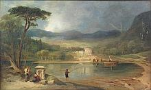 MANNER OF JOHN 'JOCK' WILSON R.S.A. (SCOTTISH 1774-1855) LANDSCAPE WITH TEMPLE RUINS AND FISHERMAN IN THE FOREGROUND 29cm x 49cm (11.