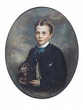 19TH CENTURY EUROPEAN SCHOOL PORTRAIT OF A BOY WITH DOG 31cm x 25cm (12.25in x 9.75in)