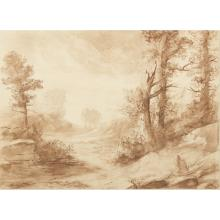 ALPHONSE LEGROS (FRENCH 1837-1911) A WOODED LANDSCAPE WITH FIGURE SKETCHING