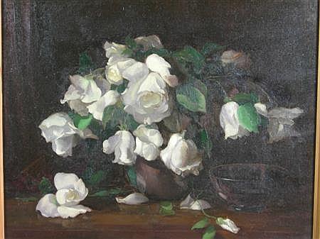 WILLIAM S ANDERSON (BRITISH FL. 1917-1930) WHITE NIPHETOS ROSES 45cm x 55cm (17.75in x 21.5in)