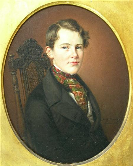 ADOLF HENNING (GERMAN 1809-1900) PORTRAIT OF A BOY WITH A TARTAN CRAVAT 37cm x 30cm (14.5in x 12in)