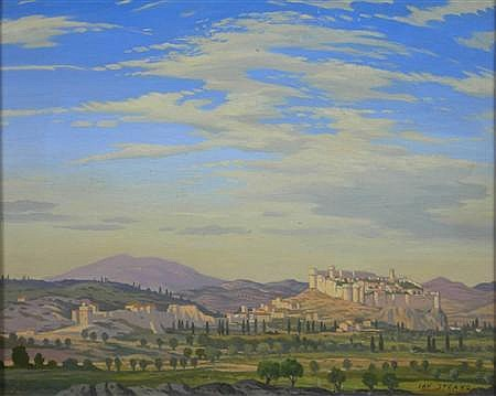 IAN STRANG R.E. (BRITISH 1886 -1952) ITALIAN LANDSCAPE WITH A FORTRESS 31.5cm x 40cm (12.25in x 15.75in)