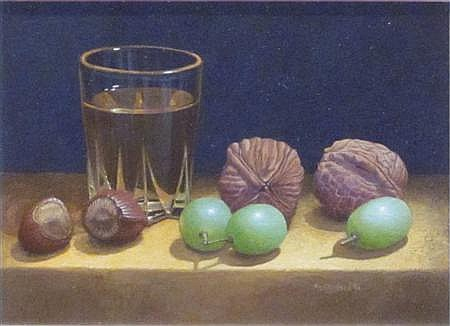 § TIM GUSTARD (BRITISH B.1954) STILL LIFE WITH WHISKEY, GRAPES AND WALNUTS 9.5cm x 12.5cm (3.75in x 5in)