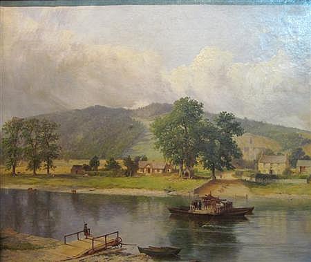 JAMES HALL CRANSTOUN (SCOTTISH 1821-1907) CAPUTH FERRY 55.5cm x 67cm (22in x 26.5in)