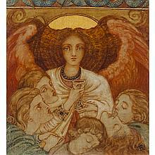 PHOEBE ANNA TRAQUAIR (SCOTTISH 1852-1936) ANGELUS DE SOMMIÉ 29cm x 27cm (11.5in x 10.5in)