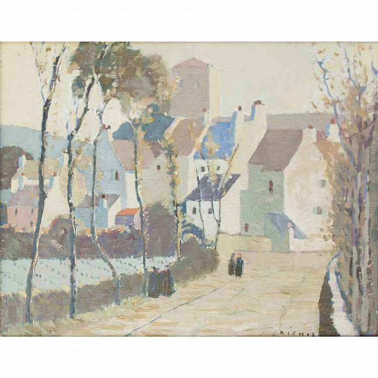 § JAMES MICHIE (SCOTTISH 1891-1969) FRENCH STREET SCENE 45.5cm x 58 cm (18in x 23in)