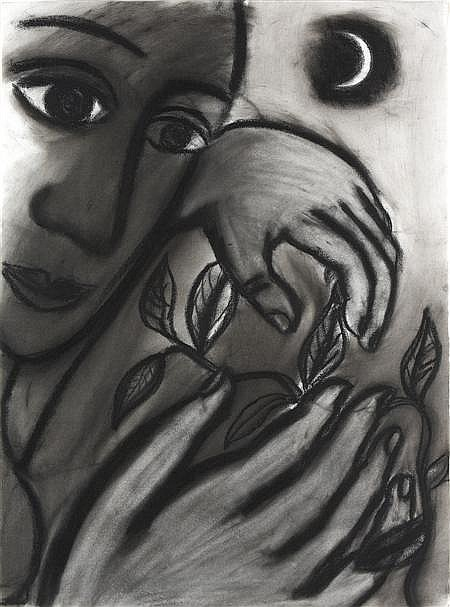 EILEEN COOPER R.A. (B. 1953) NIGHT GARDENER 76.2cm x 55.8cm (30in x 22in)