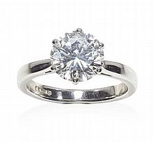 A platinum mounted single stone diamond ring Ring size: J, total diamond weight 1.87cts