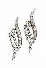 A pair of diamond set earrings Length: 4cm