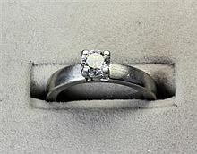 A single stone diamond set ring Ring size: K/L, estimated diamond weight: 0.55cts