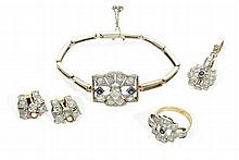 A sapphire and diamond set suite of jewellery comprising