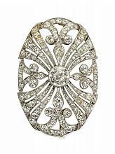 A Belle Époque period diamond set brooch Width: 3.6cm, estimated principal diamond weight: 0.89cts