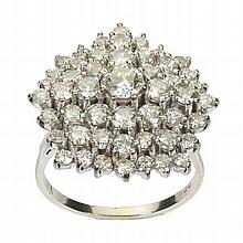 A diamond set cocktail ring Ring size: T/U, diameter of cluster: 25mm