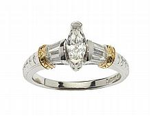 A marquise cut diamond ring Ring size: N/O