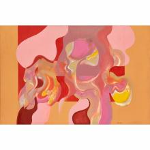[§] CHARLIE BOYLE (SCOTTISH CONTEMPORARY) PINK ABSTRACT 100.5cm x 152cm (39.5in x 59.75in)