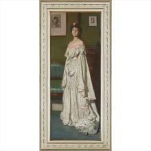 JOHN BYAM LISTON SHAW A.R.W.S. (BRITISH 1872-1919) Full length portrait of Isobel Codrington in evening dress