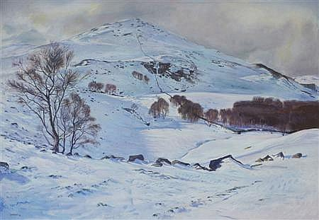 WILLIAM COLLIE MILNE CADENHEAD (SCOTTISH 1934-2009) MOUNT BLAIR, GLENISLA 127cm x 183cm (50in x 72in)
