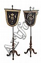 PAIR OF VICTORIAN OAK AND NEEDLEWORK POLE SCREENS MID/LATE 19TH CENTURY each mounted with part of a saddle cloth of the 16th lancers...