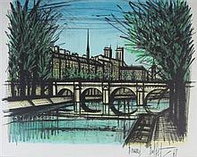 § BERNARD BUFFET (FRENCH 1928-1999) LE PONT DE PARIS 45cm x 57cm (17.75in x 22.5in)