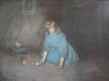 ROBERT GEMMELL HUTCHISON R.S.A. R.S.W. (SCOTTISH 1855-1936) THE PET KITTEN 52cm x 68cm (20.5in x 26.75in)