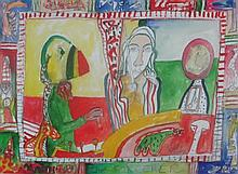 § JOHN BELLANY H.R.S.A., R.A., C.B.E. (SCOTTISH 1942-2013) THE SORCERER 54cm x 75cm (21.25in x 29.5in)
