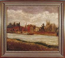 LATE 19TH CENTURY ENGLISH SCHOOL TOWN SEEN FROM THE RIVER 49cm x 60cm (19.25in x 23.5in)