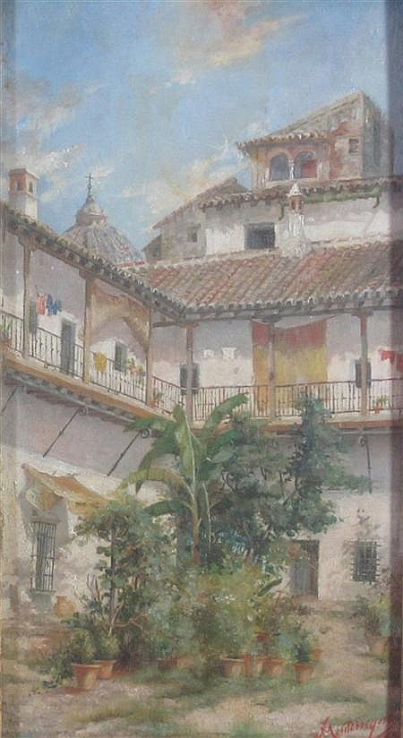 JOSE MONTENEGRO CAPPELL (SPANISH 1855-1924) COURTYARD, SPAIN 29cm x 15.5cm (11.5in x 6.25in) and another by the same hand, a pair (2...