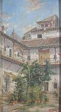 JOSE MONTENEGRO CAPPELL (SPANISH 1855-1924) COURTYARD, SPAIN 29cm x 15.5cm (11.5in x 6.25in) and another by the same hand, a pair (2...