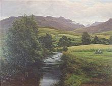 JOHN JAMES BANNATYNE R.S.W. (SCOTTISH 1836-1911) HIGHLAND RIVER LANDSCAPE 76cm x 96.75cm (30.5in x 37in)