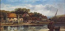 WILLIAM PITT (BRITISH 19TH CENTURY) FISHERMEN'S COTTAGES ON THE AVON, DEVON 20cm x 41cm (8in x 16in)