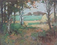 § THOMAS BONAR LYON (SCOTTISH 1873-1955) THE FRINGE OF THE WOOD AT AUCHINCRUIVE, AYR 28.5cm x 36cm (11.25in x 14.25in)