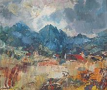§ HAMISH LAWRIE (SCOTTISH 1919-1987) TORRIN VILLAGE 47cm x 58cm (18.5in x 23.75in)