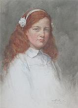 HENRY WRIGHT KERR R.S.A., R.S.W. (SCOTTISH 1857-1936) PORTRAIT OF A RED-HAIRED YOUNG GIRL 46cm x 33cm (18in x 13in)