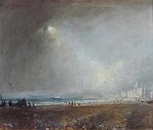 § ERNEST BURNETT HOOD (SCOTTISH 1932-1988) ON THE SOUTH COAST 62cm x 74.5cm (24.25in x 29in)