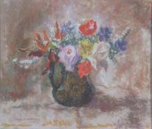 § MARY ARMOUR R.S.A., R.S.W., R.G.I. (SCOTTISH 1902-2000) LATE SUMMER FLOWERS 37cm x 43cm (14.5in x 17in)