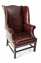 GEORGE III STYLE MAHOGANY UPLHOLSTERED WING ARMCHAIR 68cm wide, 114cm high, 48cm deep
