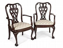 PAIR OF GEORGE II STYLE MAHOGANY OPEN ARMCHAIRS 69cm wide, 107cm high, 50cm deep