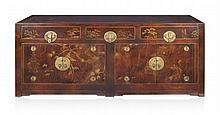 CHINESE LACQUERED AND PAINTED SIDEBOARD 198cm wide, 90cm high, 51cm deep