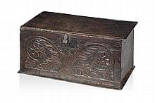 SMALL CARVED OAK COFFER 17TH CENTURY 71cm wide, 34cm high, 34cm deep