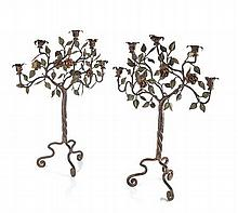 PAIR OF PAINTED WROUGHT IRON CANDELABRA 66cm high