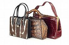 COLLECTION OF LEATHER AND ANIMAL SKIN HANDBAGS