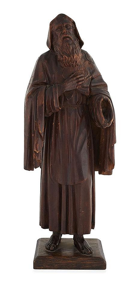 GERMAN CARVED FRUITWOOD FIGURE OF A SAINT 18TH CENTURY 44cm high