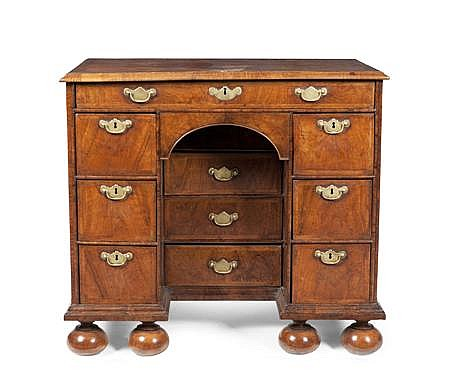 GEORGE II WALNUT KNEEHOLE DESK 18TH CENTURY 90cm wide, 82cm high, 55cm deep