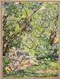 FEODOR STEPANOVICH ROJANKOVSKY (RUSSIAN/ AMERICAN 1891-1970) SERIES OF EROTIC SCENES 15.5cm wide x 21cm high sight size