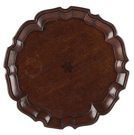 GEORGE III MAHOGANY AND INLAID TRAY LATE 18TH CENTURY 30cm diam
