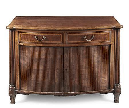 GEORGE III MAHOGANY AND INLAID BOWFRONT COMMODE LATE 18TH CENTURY 111cm wide, 77cm high, 62cm deep