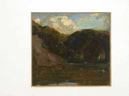 ROBERT HOPE R.S.A. (SCOTTISH, 1869-1936) THE QUARRY POND, RAVELSTON 12.5cm x 13.5cm